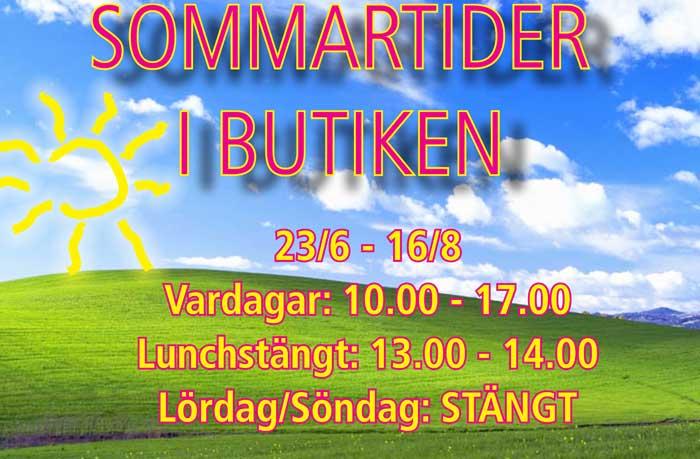 Sommartider i butiken på Staffanstorpsvägen 115  Arlöv